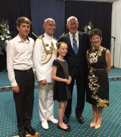 Lieutenant Commander Robert Valler with his two children, His Excellency and Mrs Hurley
